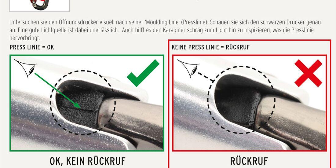KL DMM Karabiner-Rückruf Recall Nutzerkontrolle